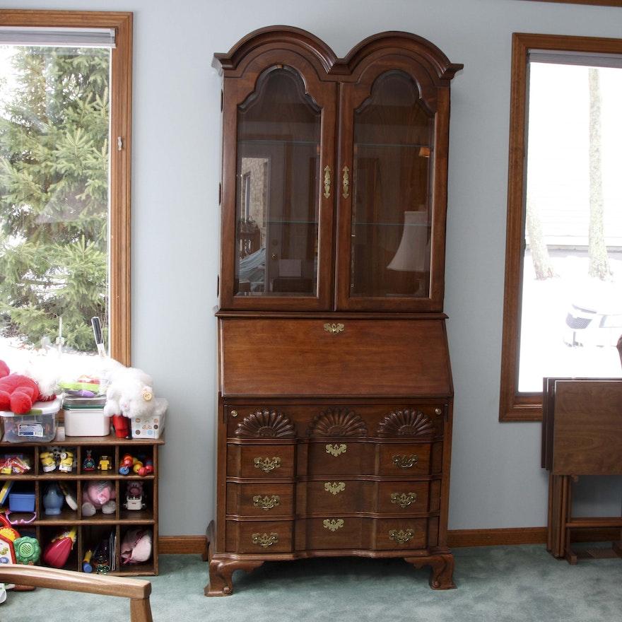 Vintage Jasper Cabinet Secretary with Glass Hutch | EBTH