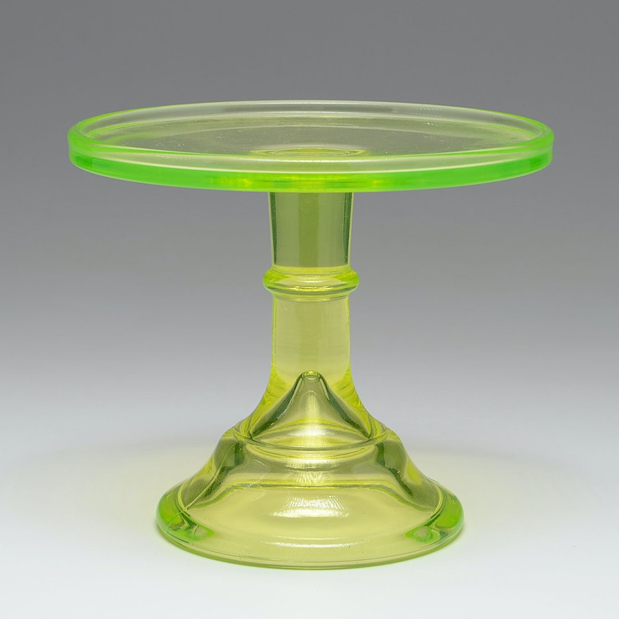 Green Glass Cake Stand For Sale