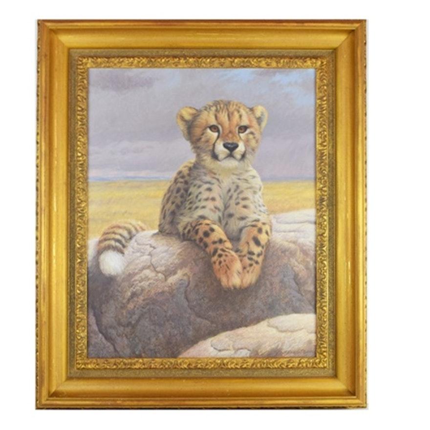 Original Painting of Cheetah Cub by Jeff Gandert : EBTH