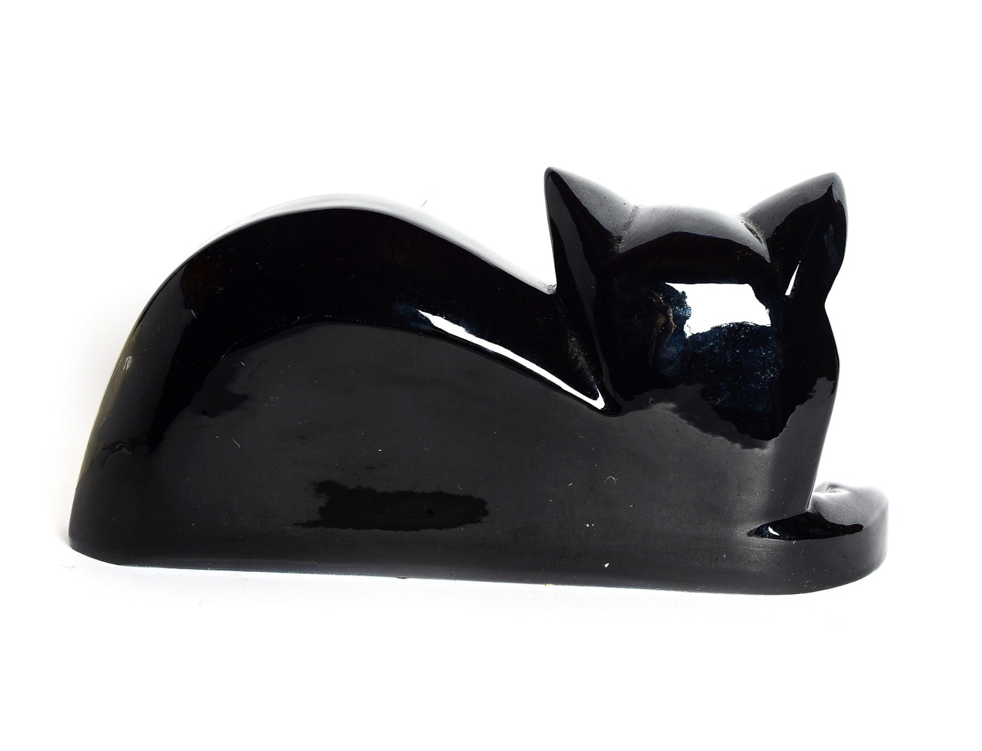 Black And White Pottery Cat Mid Century