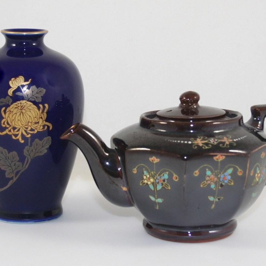 Japanese Teapot And Fukagawa Vase Ebth