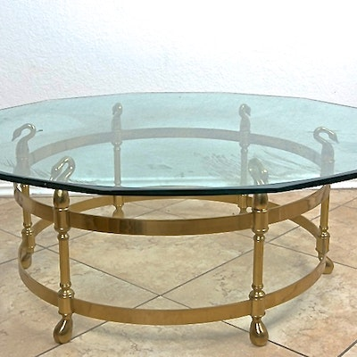 LaBarge Glass Top Cocktail Table with Brass Swan Base - Online Furniture Auctions Vintage Furniture Auction Antique