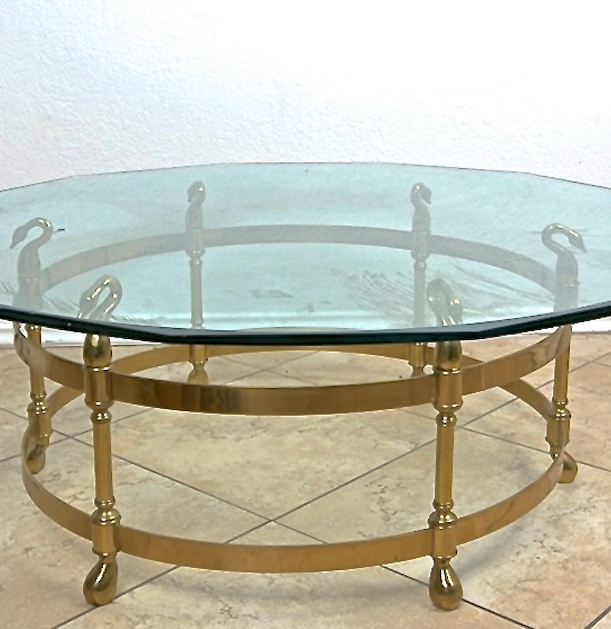Labarge Glass Top Cocktail Table With Brass Swan Base