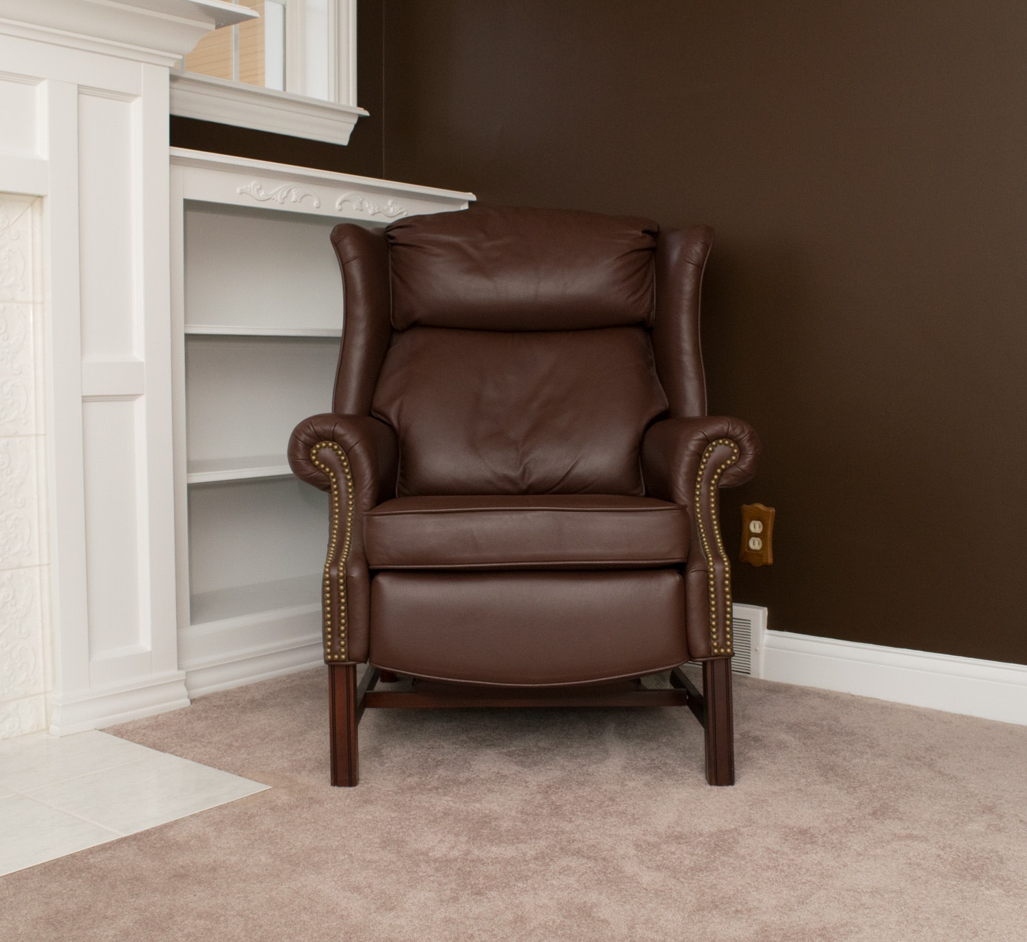 lane furniture brown leather wingback recliner