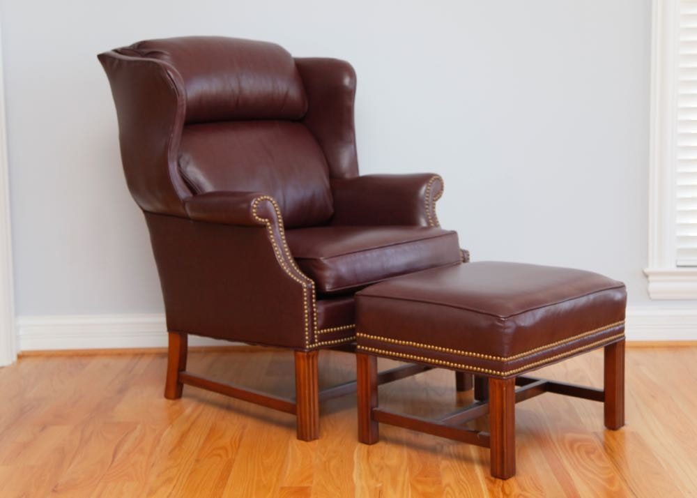 Merveilleux Whittemore Sherrill Limited Leather Upholstered Chair And Ottoman ...