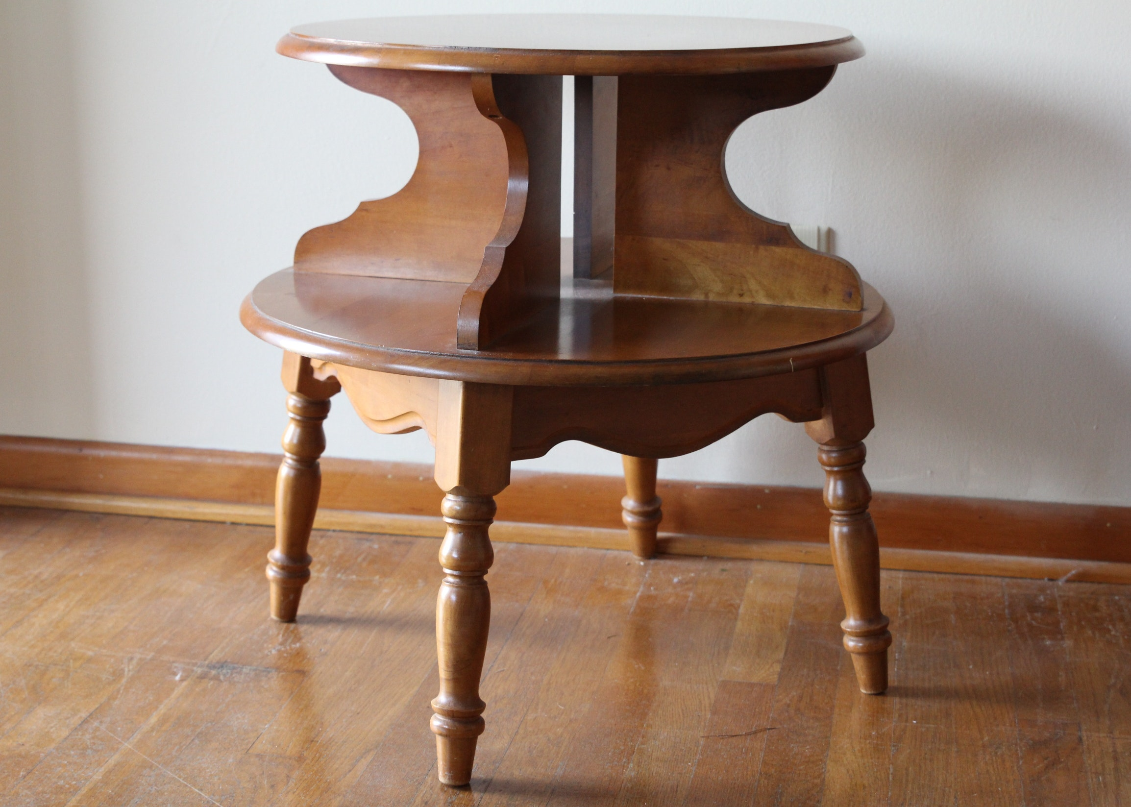 Two Tiered Maple Round Side Table ...