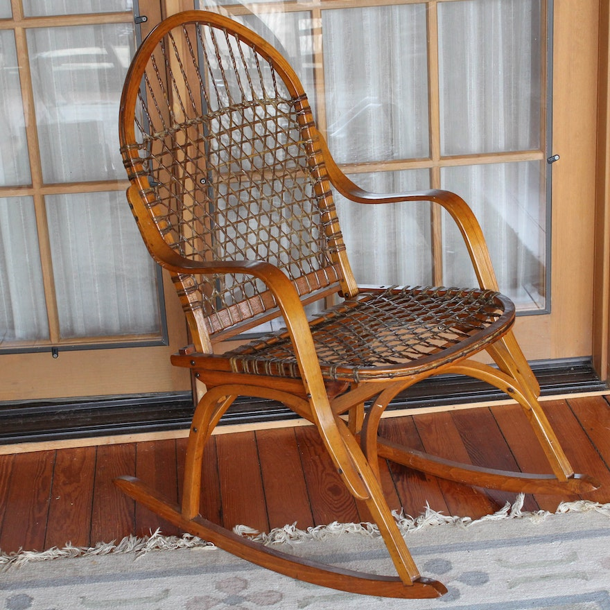 Vintage Vermont Tubbs Oak And Rawhide Snowshoe Chair Ebth