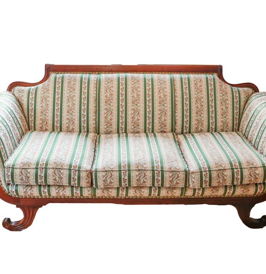 Vintage American Empire Style Upholstered Parlor Sofa Ebth