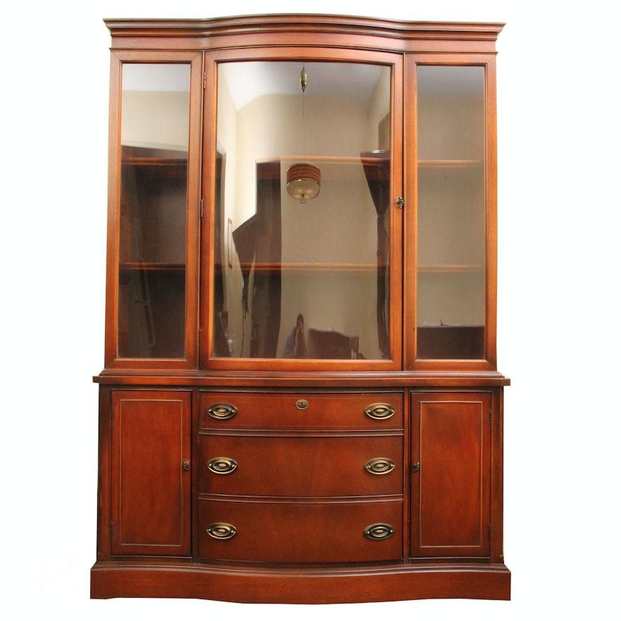 Vintage Bassett Furniture Mahogany Veneer China Cabinet