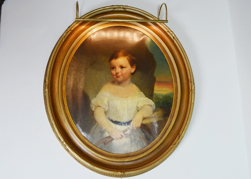 Original Oil Portrait of George Wooley as A Young Boy With Light