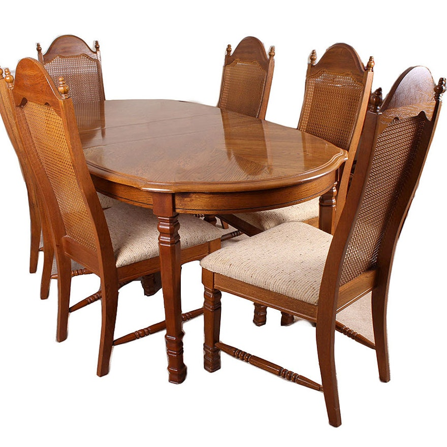 Mid Th Century Oak Dining Table And Cane Back Dining Chairs EBTH - Mid century oak dining table
