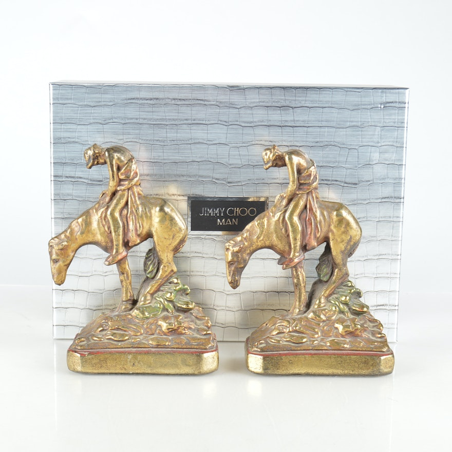Signed armor bronze end of the trail bookends ebth - Armor bronze bookends ...