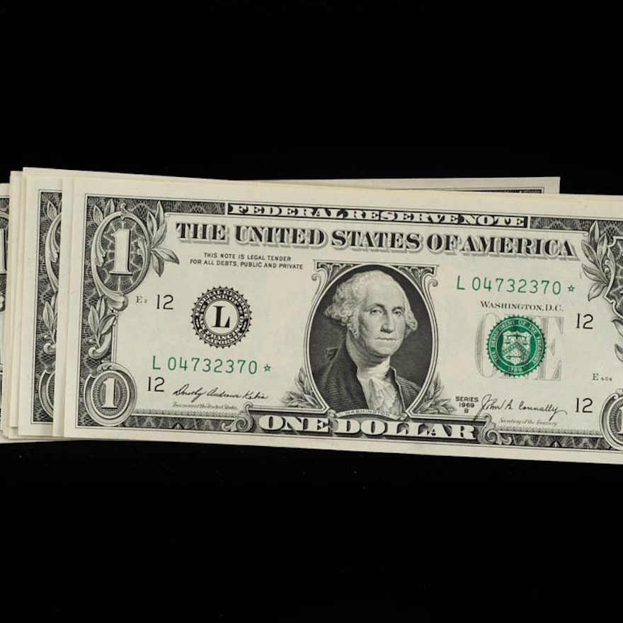 dollar bills with unique serial numbers