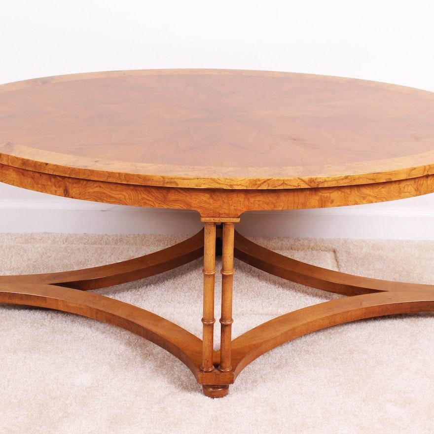 Vintage Baker Burl Mahogany Walnut Oval Coffee Table