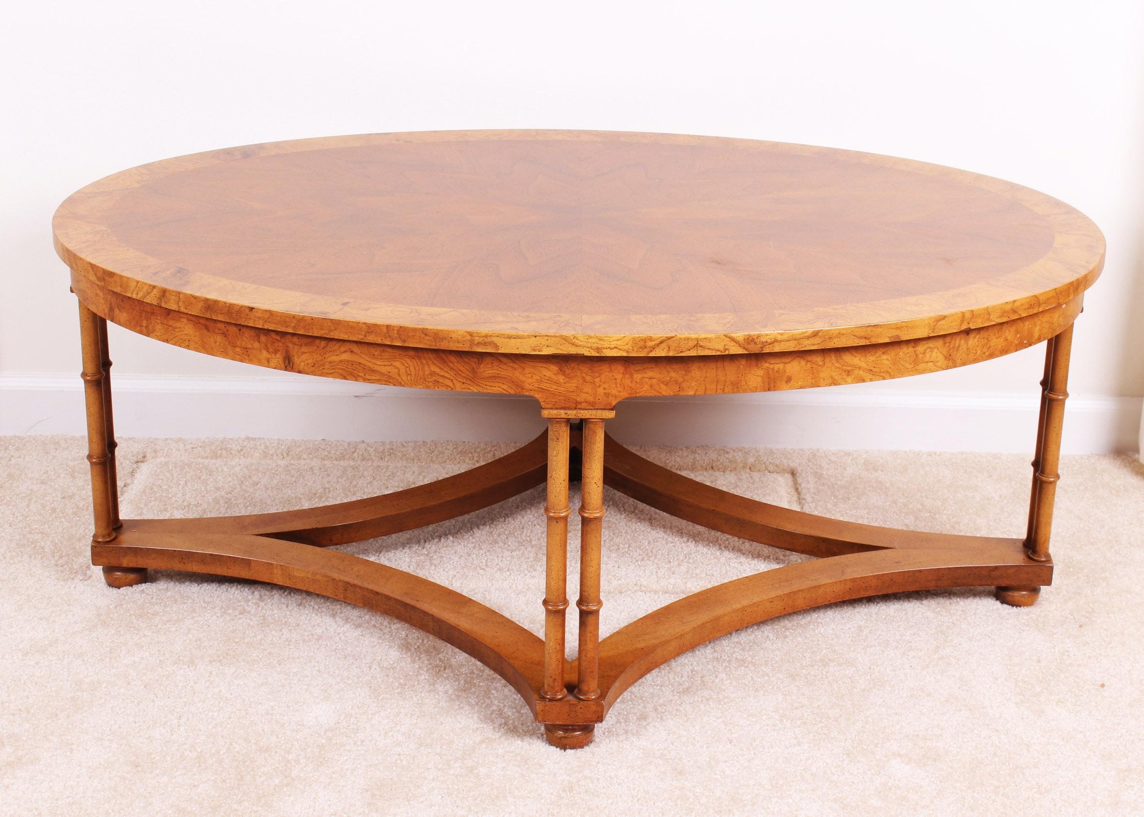 Vintage Baker Burl Mahogany Walnut Oval Coffee Table ...