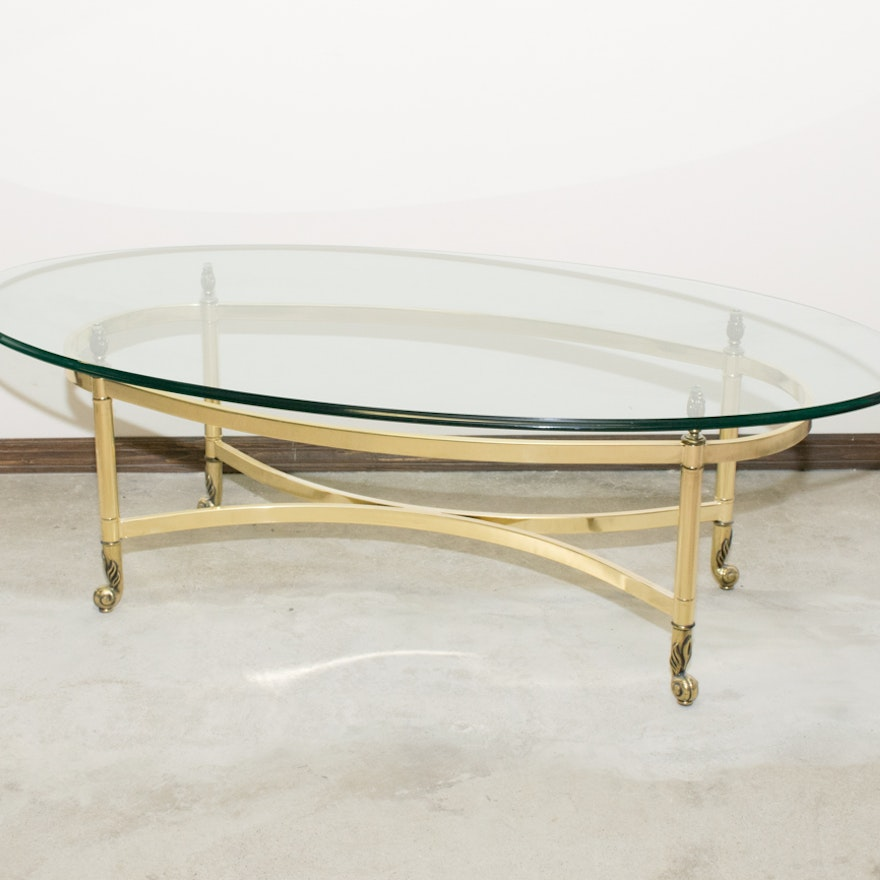Vintage Oval Brass And Glass Coffee Table Ebth