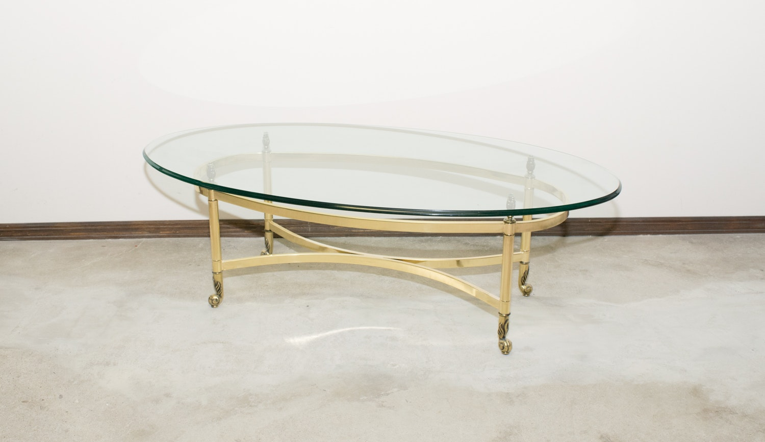 Vintage Oval Brass And Glass Coffee Table ...