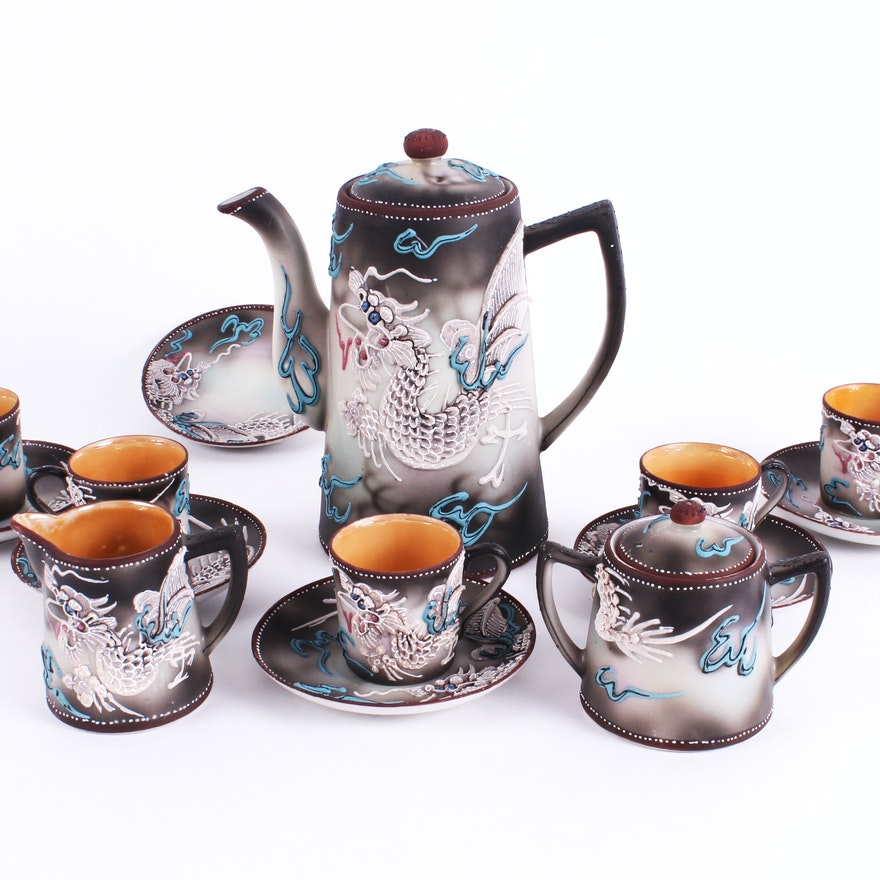 1930s Nippon Moriage Dragonware Tea Set