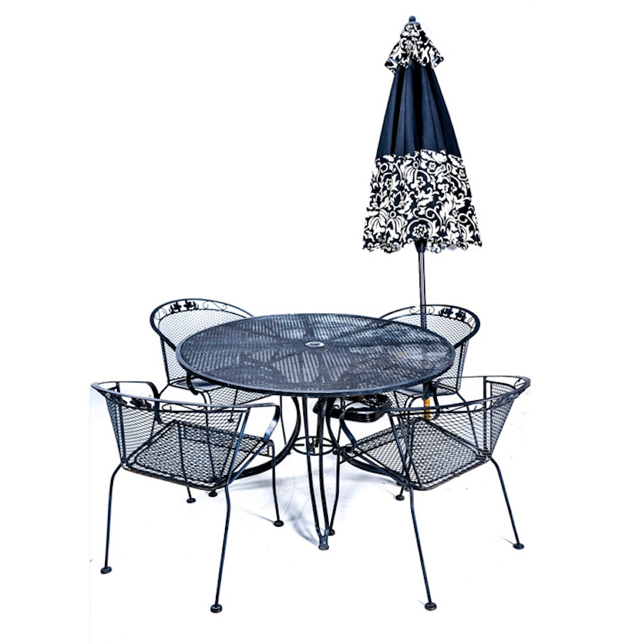 Mesh metal patio table chairs and umbrella ebth for Patio table and chairs with umbrella