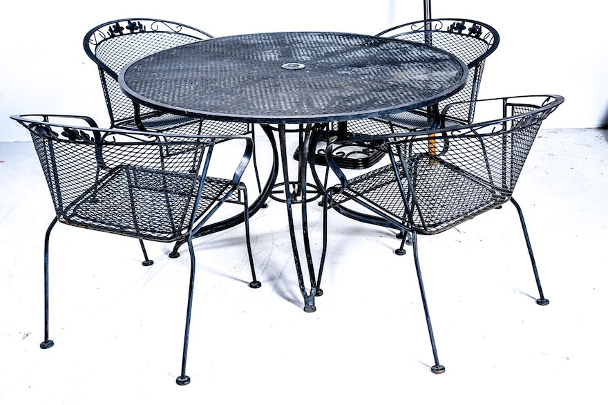 Mesh Metal Patio Table, Chairs, And Umbrella