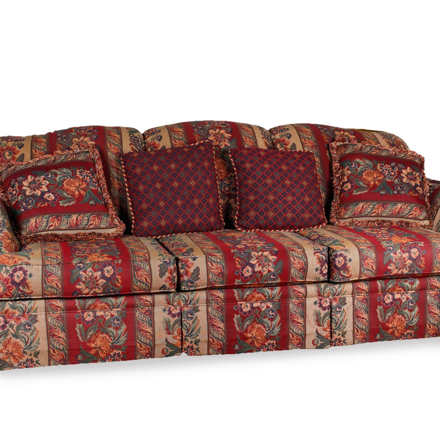 Haverty Furniture Co. Floral Striped Sofa