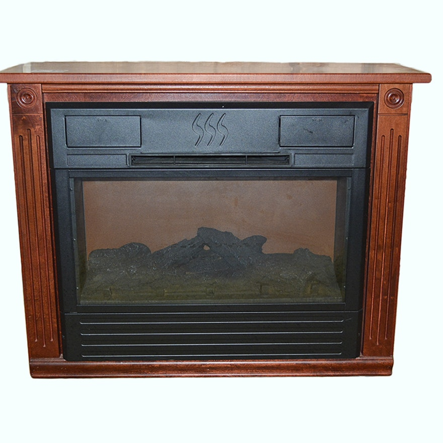 Heat Surge Portable Electronic Fireplace With Amish Made Mantel Ebth