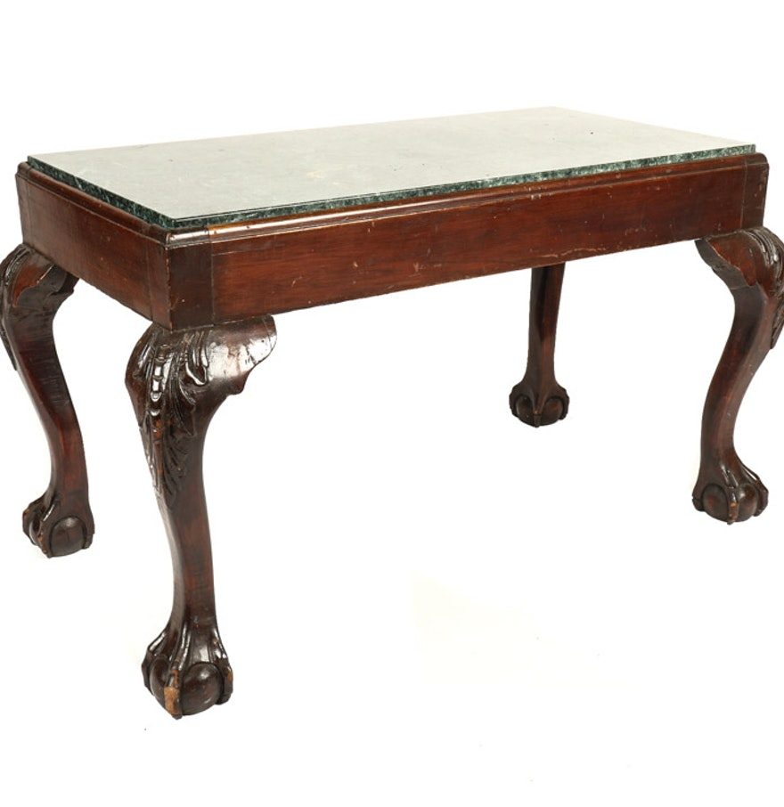 Chippendale Style Coffee Table With Marble Top Ebth