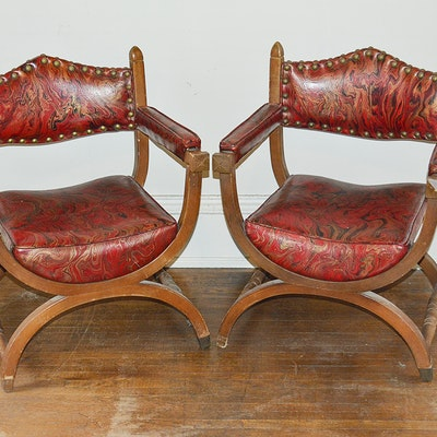 Red Vinyl Upholstered Curule Style Chairs - Online Furniture Auctions Vintage Furniture Auction Antique