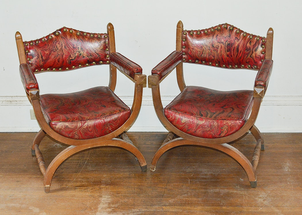 Red Vinyl Upholstered Curule Style Chairs