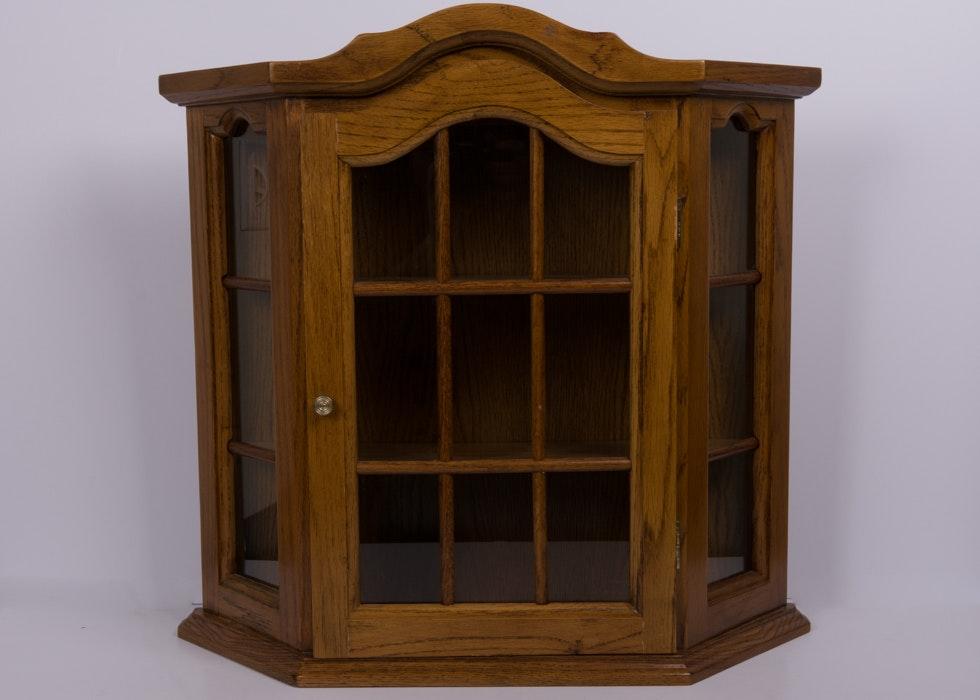 Oak Wall Mounted Display Cabinet ...