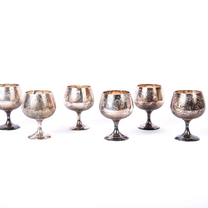 Vintage Engraved Metal Wine Goblets Ebth