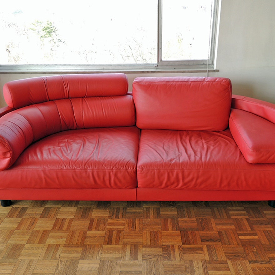Italian Mariani For Pace Molto Red Leather Sofa