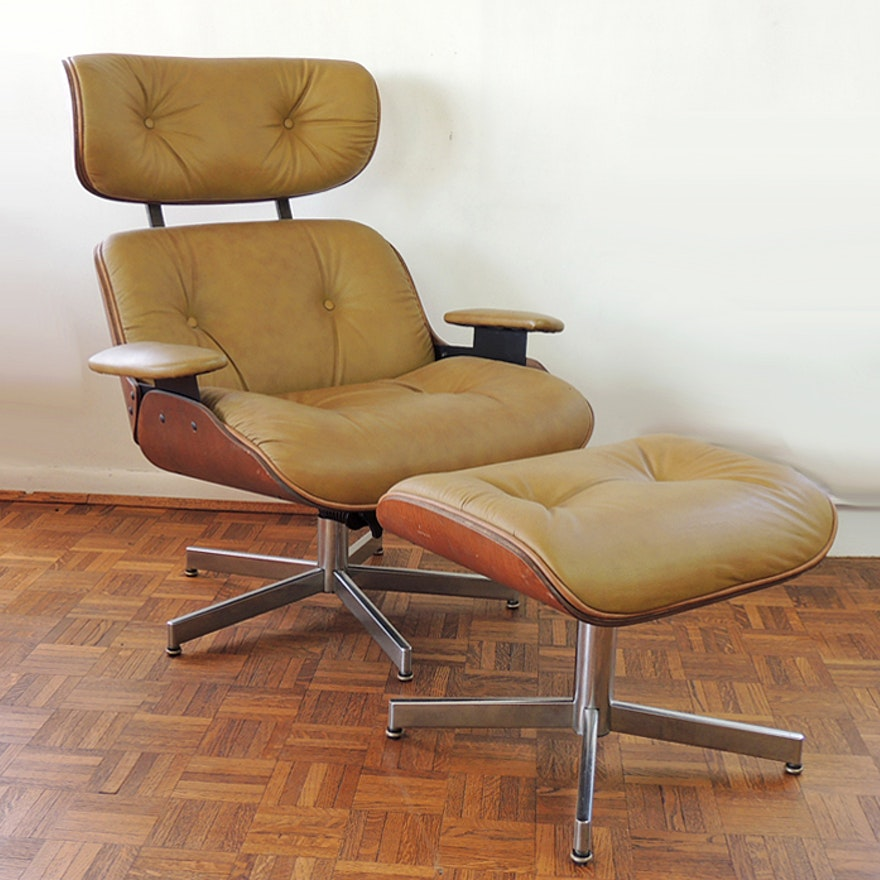 Selig Eames Style Chair And Ottoman Ebth