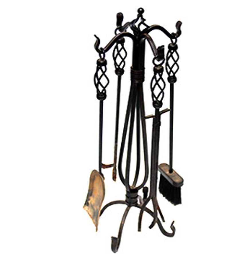 Set Of Wrought Iron Fireplace Tools Ebth