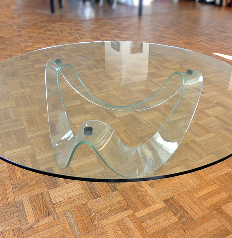Pace Fiam Nastro Designer Glass Coffee Table Ebth