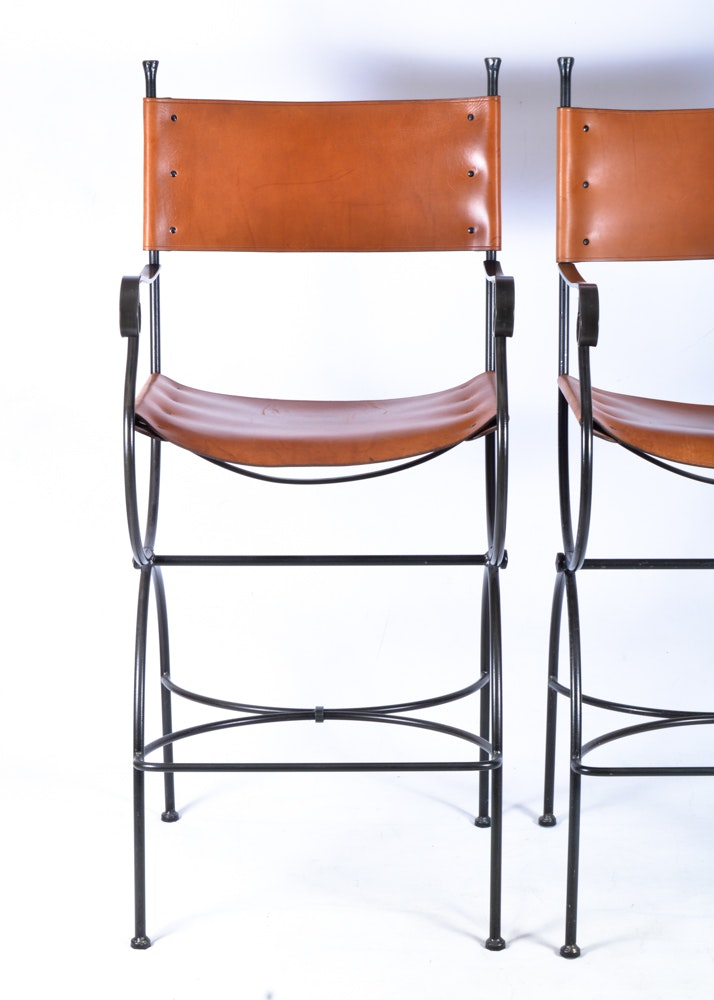 Charleston Forge Wrought Iron And Leather Barstools Ebth