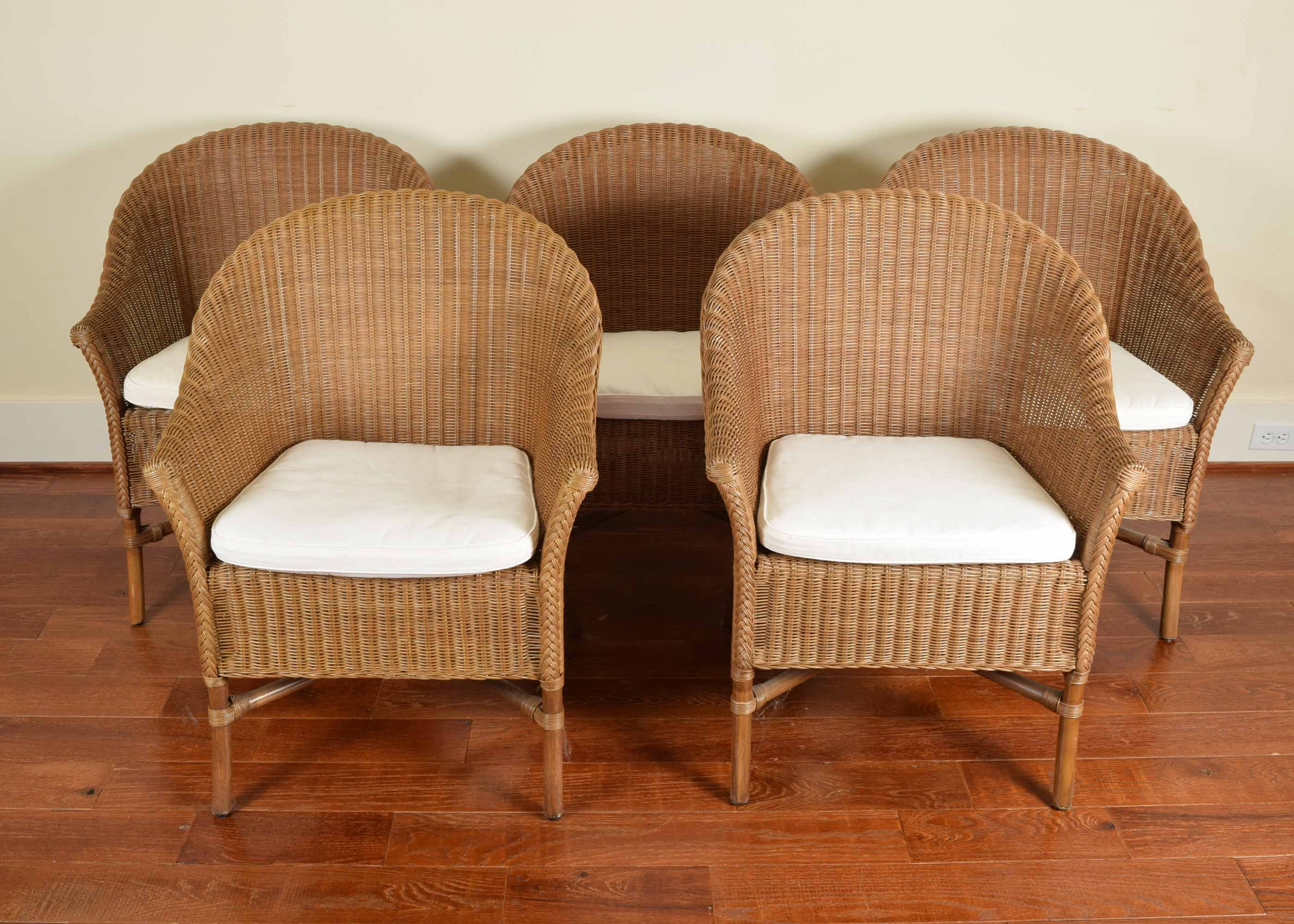 Amazing Five Pottery Barn Wicker Barrel Chairs ...