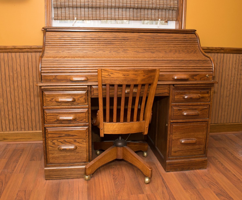 Oak Roll Top Desk And Rolling Oak Desk Chair Ebth