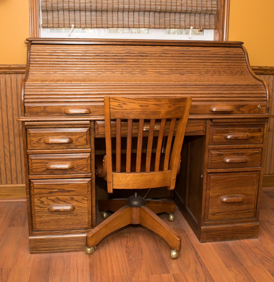 Oak Roll Top Desk And Rolling Chair