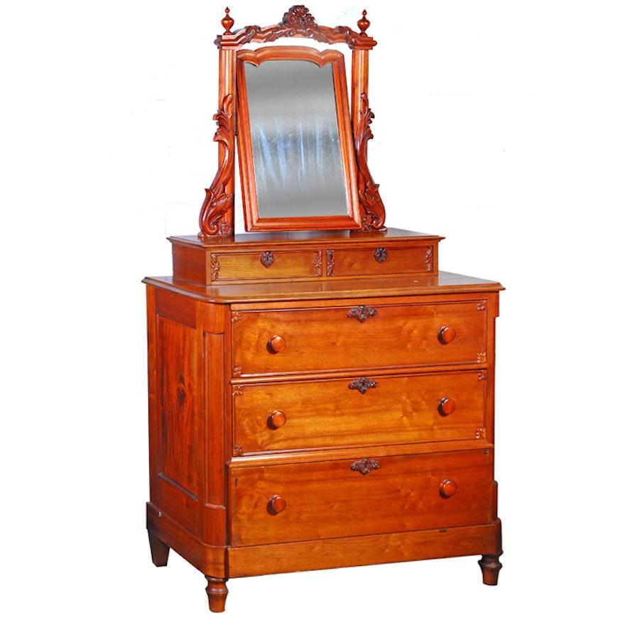 Antique Cherry Dresser With Mirror
