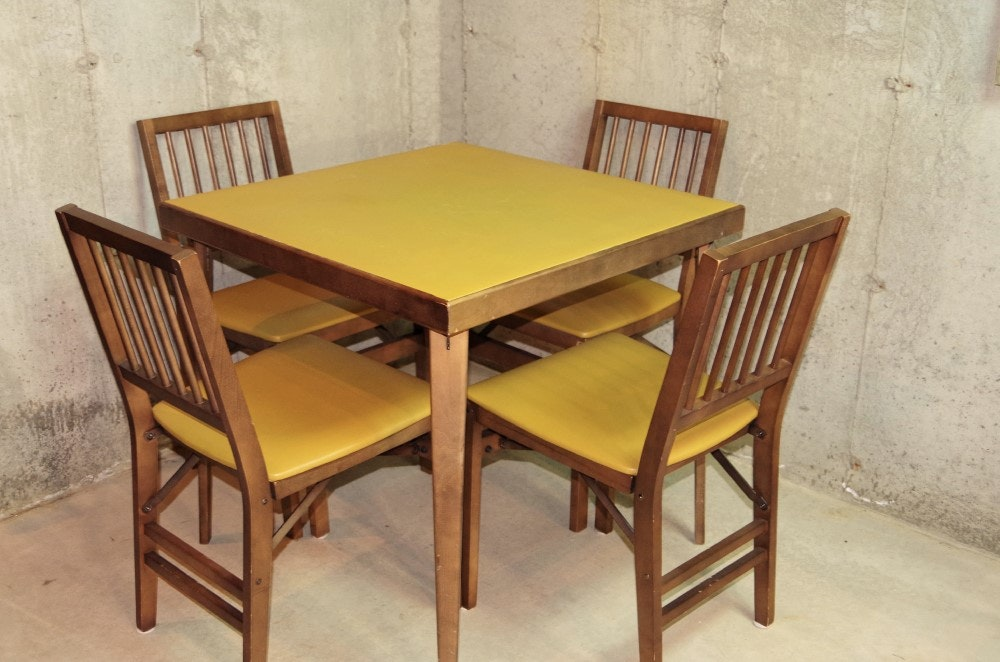 Vinyl Top Wooden Card Table And Chairs ...
