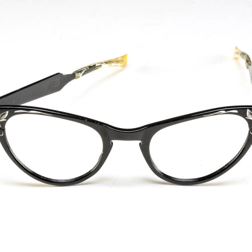 b6817368704 1950s Vintage Art Craft Cat Eye Black Aluminum Eye Glass Frames   EBTH