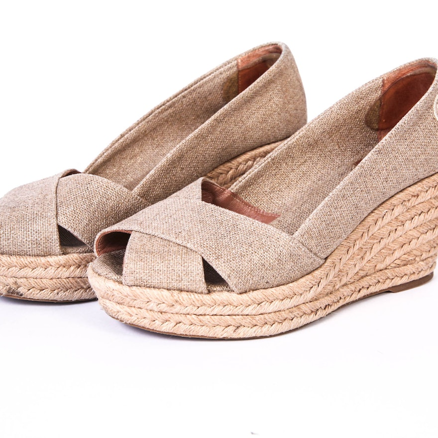 142a24b19fd Pair of TORY BURCH Golden Taupe Filipa Wedge Espadrille
