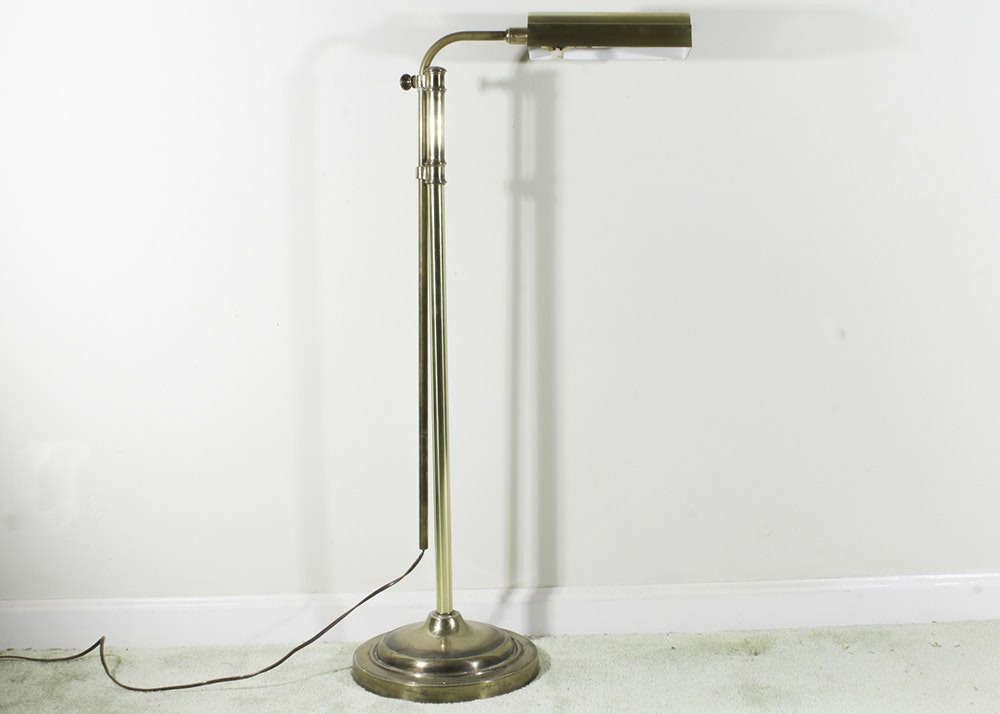 stiffel vintage brass pharmacy floor lamp