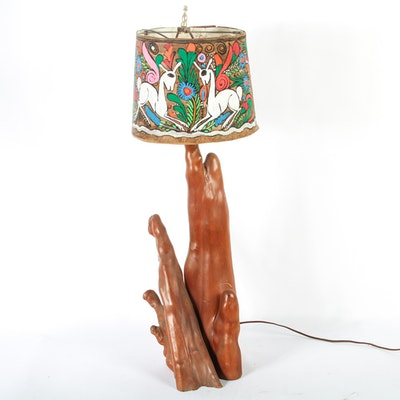 Cypress Knee Lamp with Painted Shade