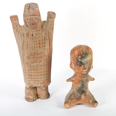 Pair of Ceramic Peruvian Style Figurines