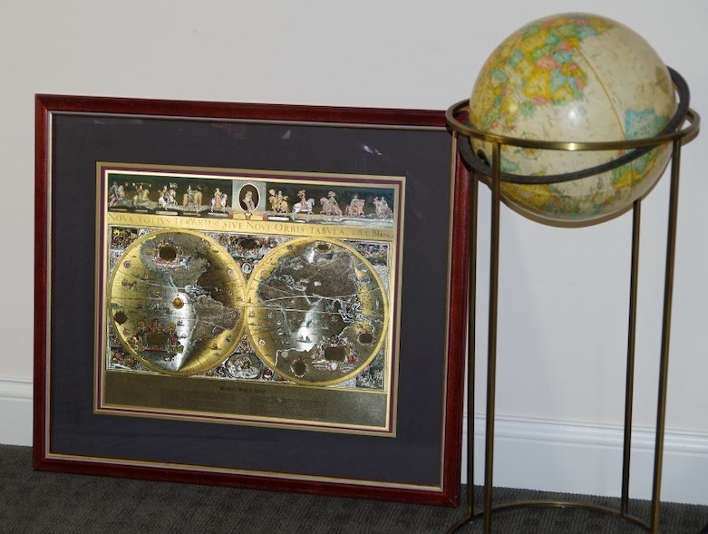 Framed gold foil blaeu wall map and replogle globe on stand ebth publicscrutiny Images