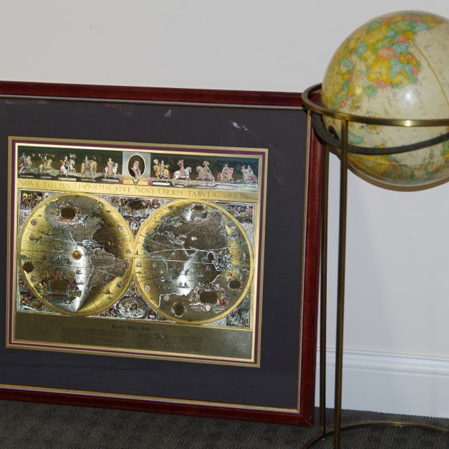 Framed gold foil blaeu wall map and replogle globe on stand ebth framed gold foil blaeu wall map and replogle globe on stand publicscrutiny Images