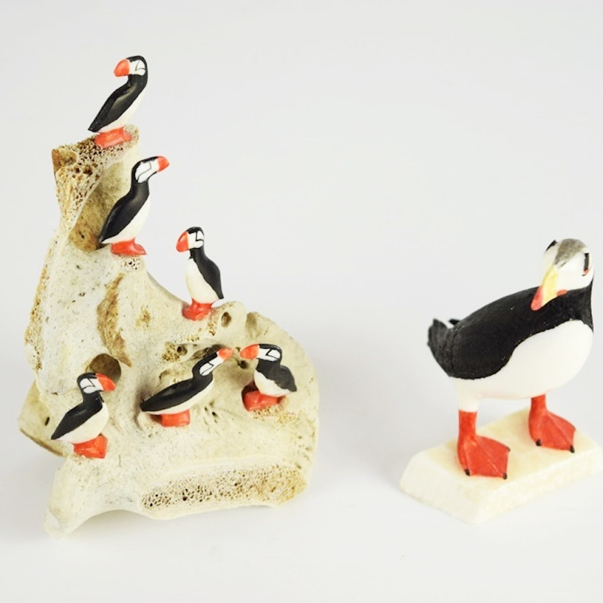 Inuit miniature carved walrus ivory puffins by native alaskan