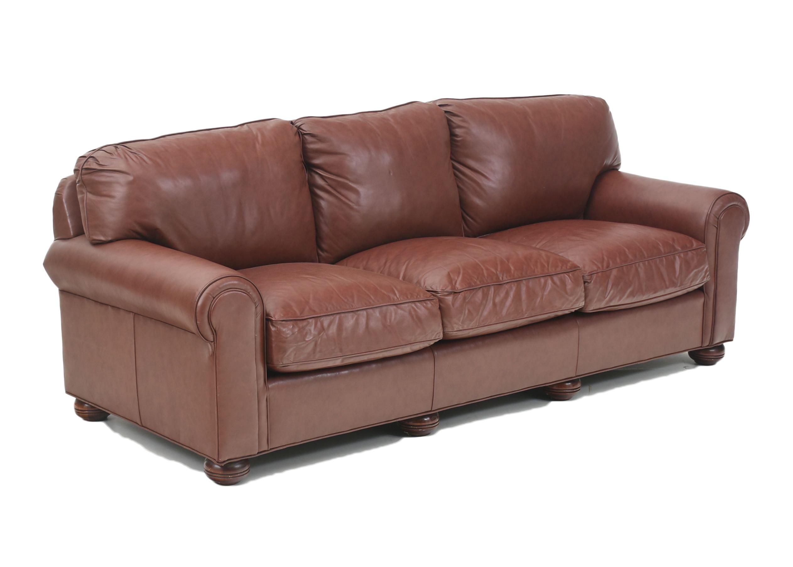 McKinley Leather Bordeaux Leather Sofa ...